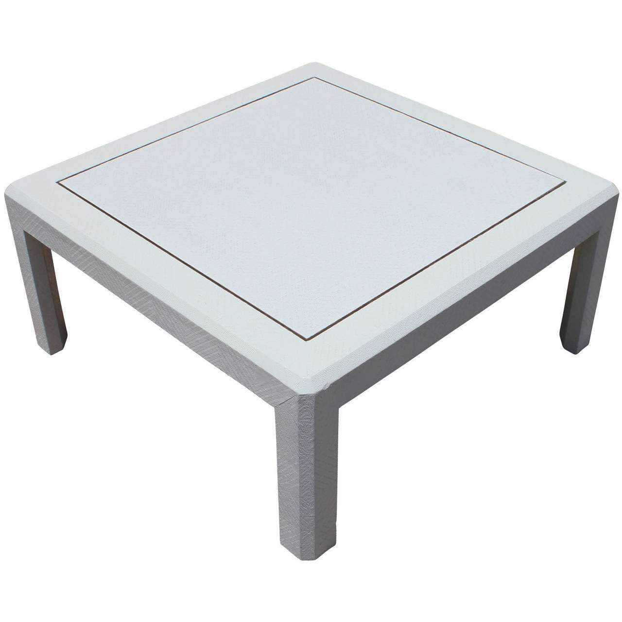 Modern Harrison Van Horn Style Square White Lacquered Raffia Regarding Most Current Square White Coffee Tables (View 12 of 20)