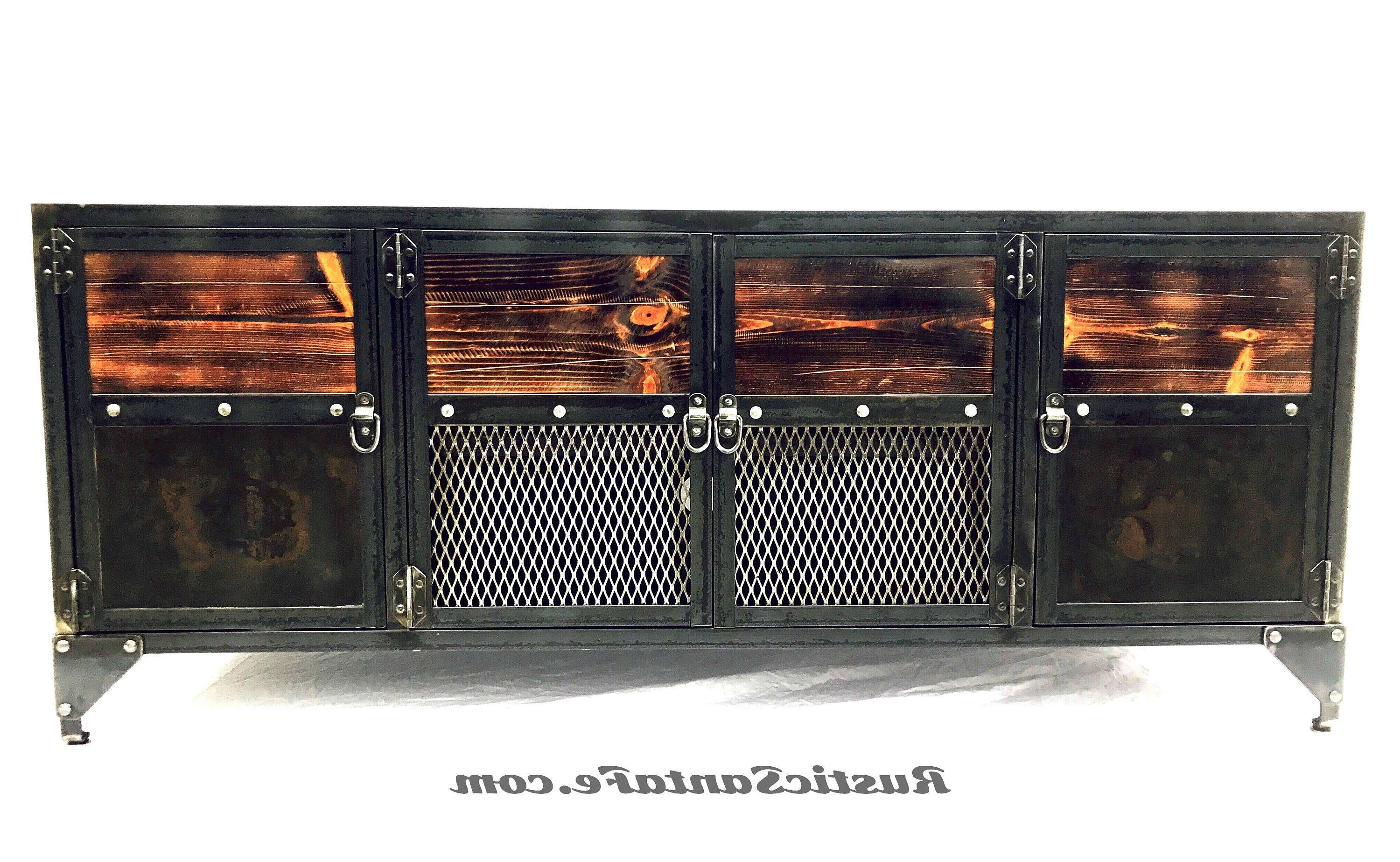 Modern Industrial Tv Console, Wood And Steel Tv Stand, Modern Within Industrial Tv Cabinets (View 14 of 20)