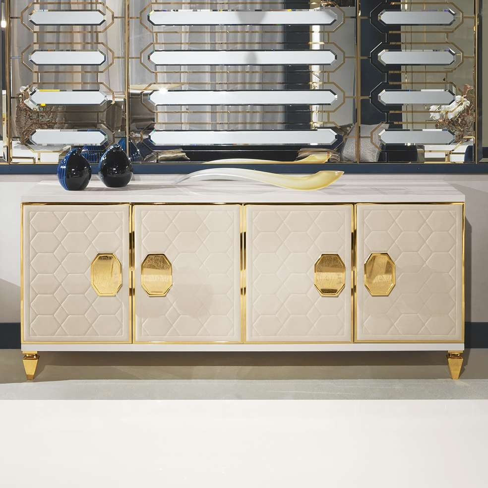 Modern Italian Ivory Quilted Nubuck Four Door Buffet | Juliettes With Gold Sideboards (View 15 of 20)
