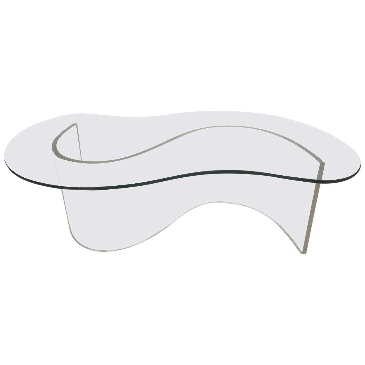 Modern Lucite And Glass Free Edge Coffee Table For Sale At 1stdibs In Trendy Perspex Coffee Table (View 14 of 20)