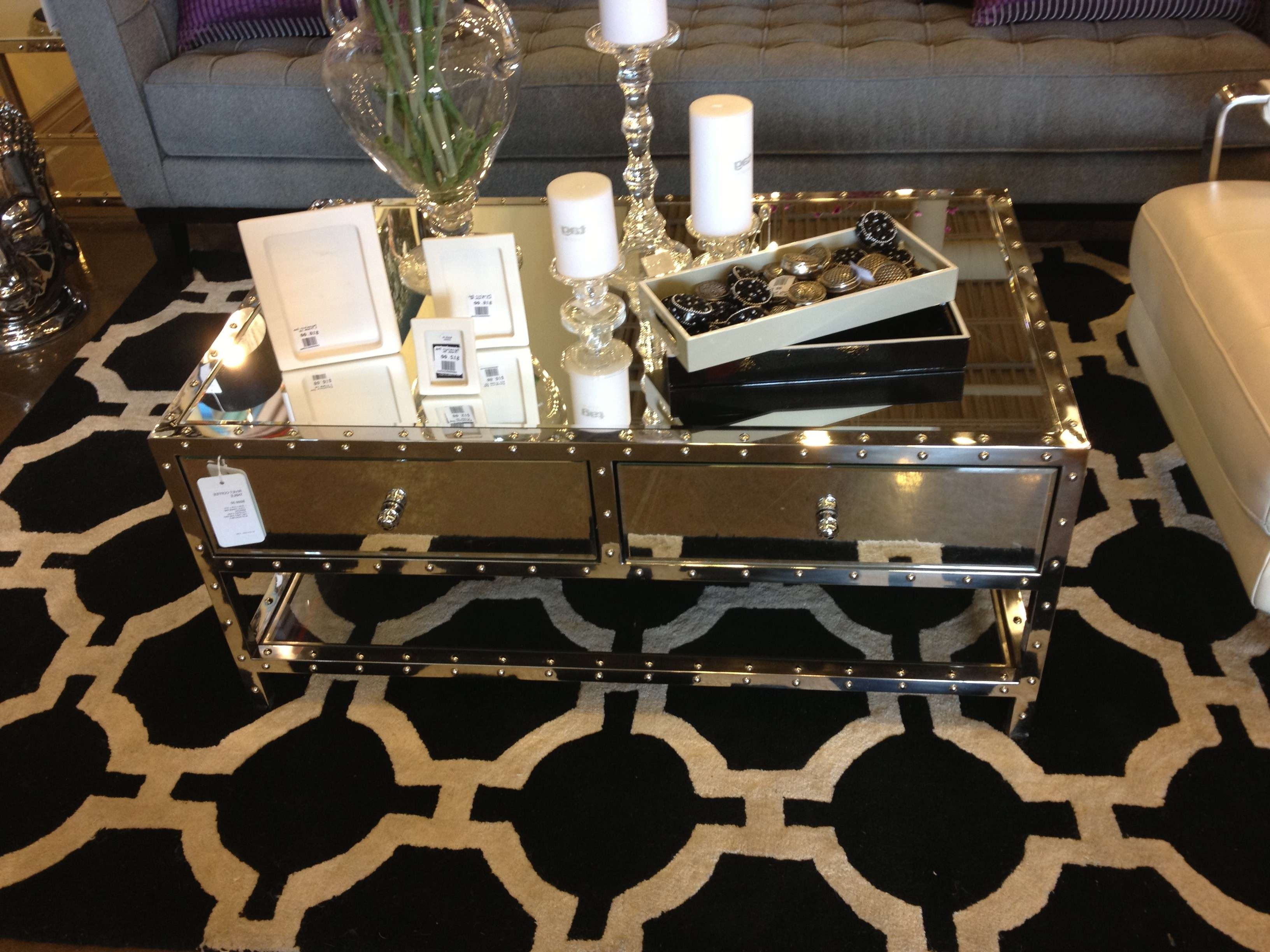 Modern Rectangle Mirrored Coffee Table With Glass Top Double With Best And Newest Oval Mirrored Coffee Tables (View 15 of 20)