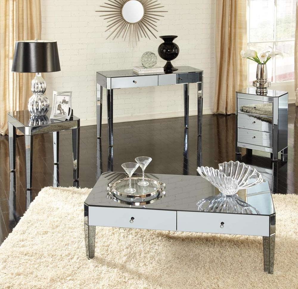 Modern Rectangle Mirrored Coffee Table With White Drawer And Round Inside 2017 Round Mirrored Coffee Tables (View 13 of 20)