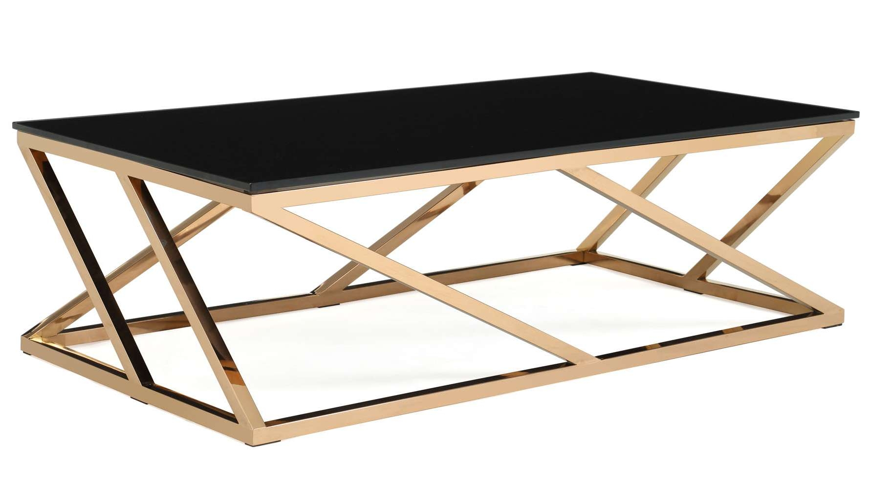 Modern Rose Gold And Black Glass Geo Coffee Table (View 9 of 20)