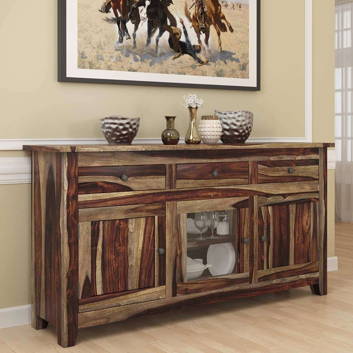 Modern Rustic Solid Wood Glass Door 3 Drawer Sideboard Cabinet Within Sideboards With Glass Doors And Drawers (View 6 of 20)