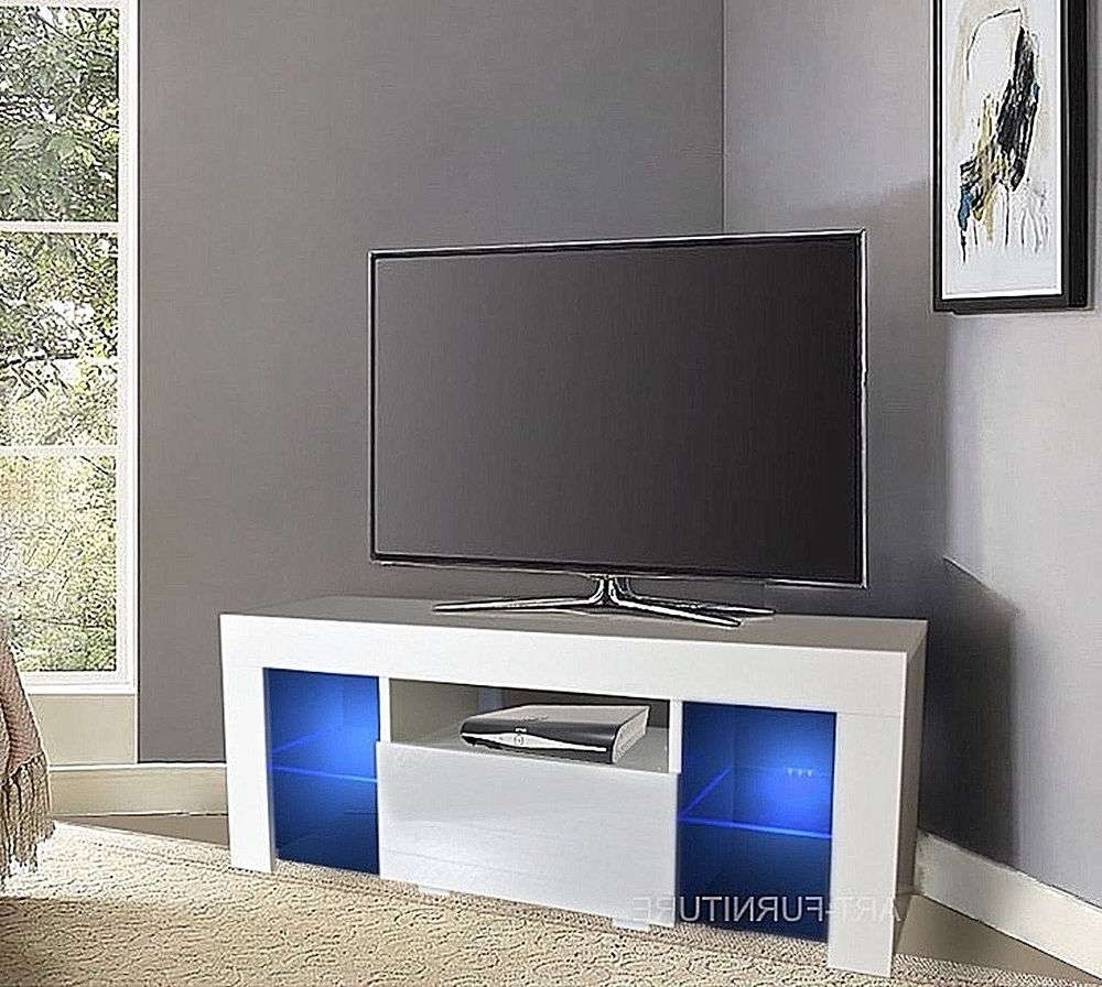 Modern Small Gloss Matt Tv Unit 110Cm Cabinet Black White Grey Regarding White Corner Tv Cabinets (View 7 of 20)