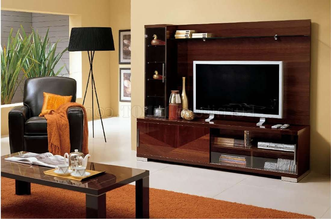 Modern Wall Unit In Walnut High Gloss Finish W/display Cabinet Pertaining To Wall Display Units And Tv Cabinets (View 15 of 20)