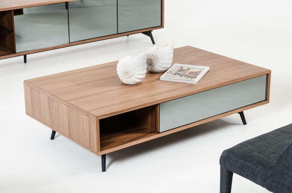 Modern Walnut And Mirrored Glass Coffee Table Philadelphia Pertaining To Trendy Mirror Glass Coffee Table (View 10 of 20)