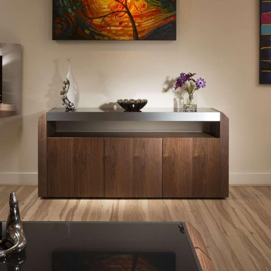 Modern Walnut Sideboard Cabinet Buffet Black Glass Top (View 7 of 20)