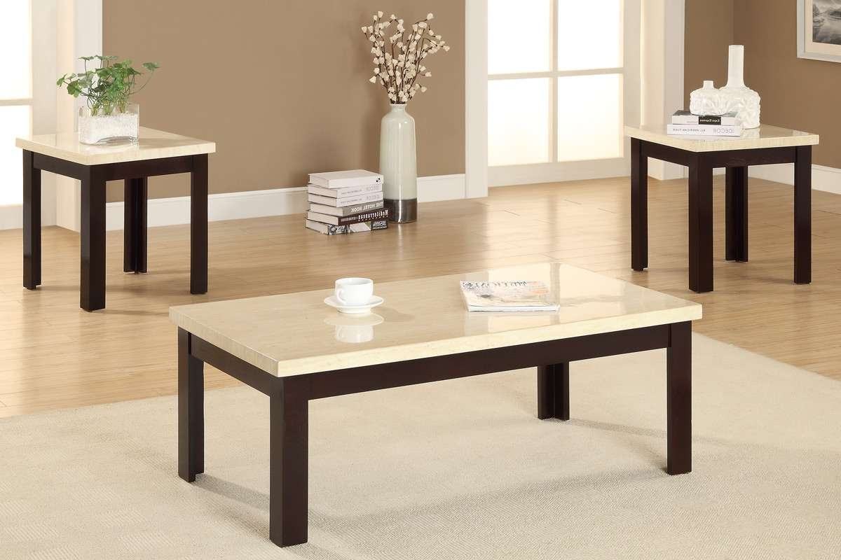 Modern White Granite Top Coffee Table With Brown Painted Oak Wood Intended For Recent Oak And Cream Coffee Tables (View 11 of 20)