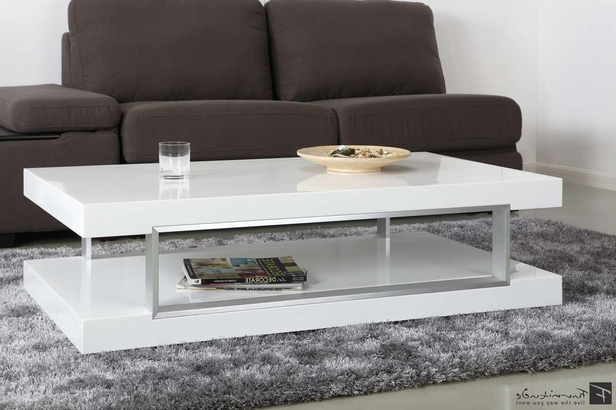 Modern White Square Floating Coffee Table Joel Modern Coffee With Regard To 2017 White High Gloss Coffee Tables (View 8 of 20)