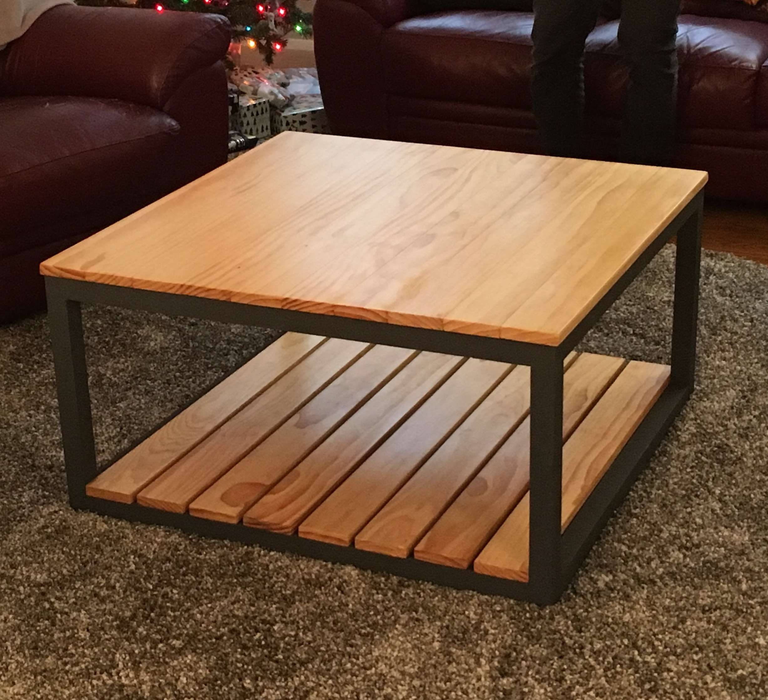 Modified Industrial Style Coffee Table W/ Bottom Shelf (View 11 of 20)