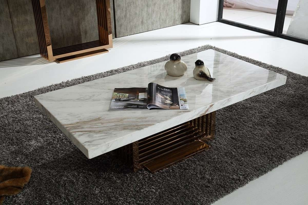 Modrest Kingsley Modern Marble & Rosegold Coffee Table – Coffee Pertaining To 2017 Modern Coffee Tables (View 11 of 20)