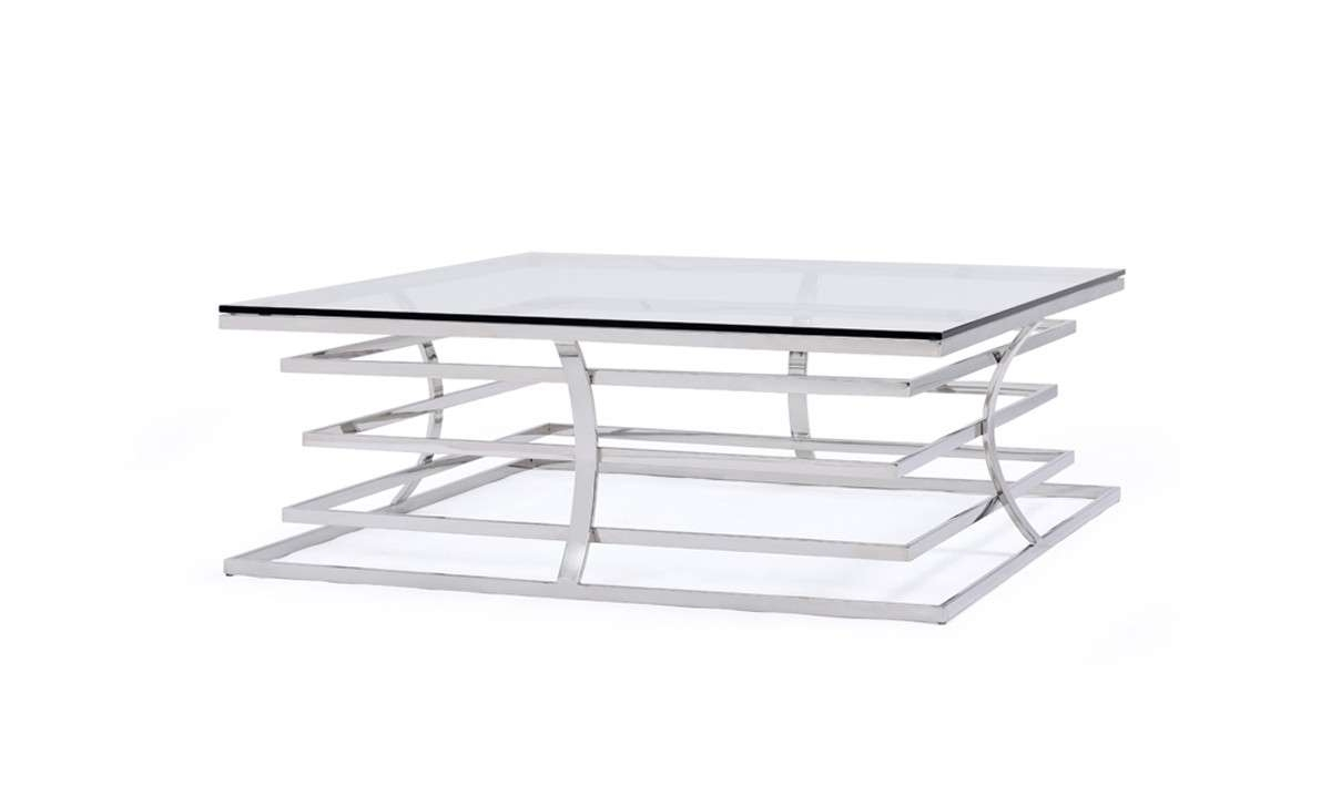 Modrest Snyder Modern Square Glass Coffee Table Pertaining To 2018 Modern Square Glass Coffee Tables (View 12 of 20)