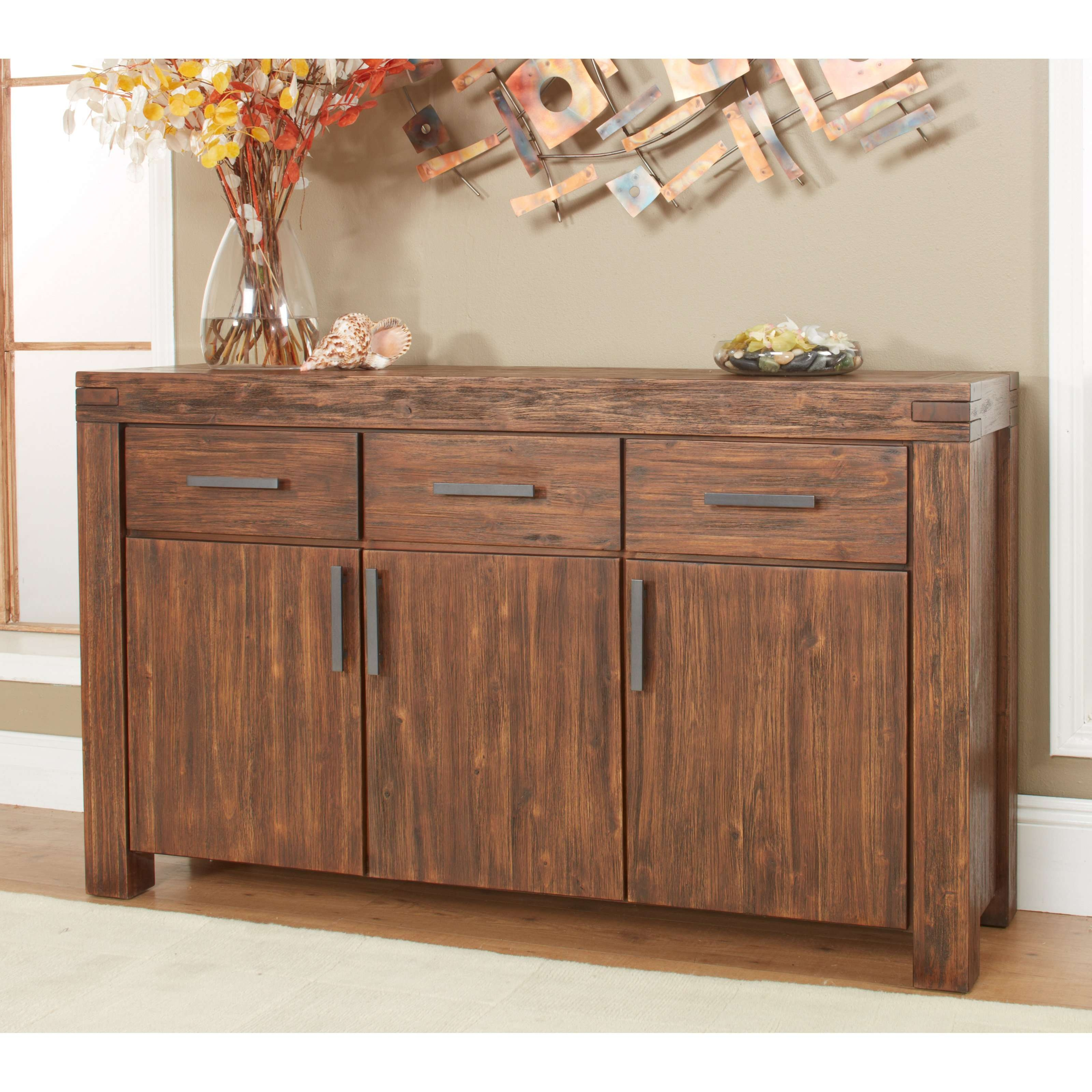 Modus Meadow 3 Door 3 Drawer Solid Wood Sideboard – Brick Brown Throughout Real Wood Sideboards (View 4 of 20)