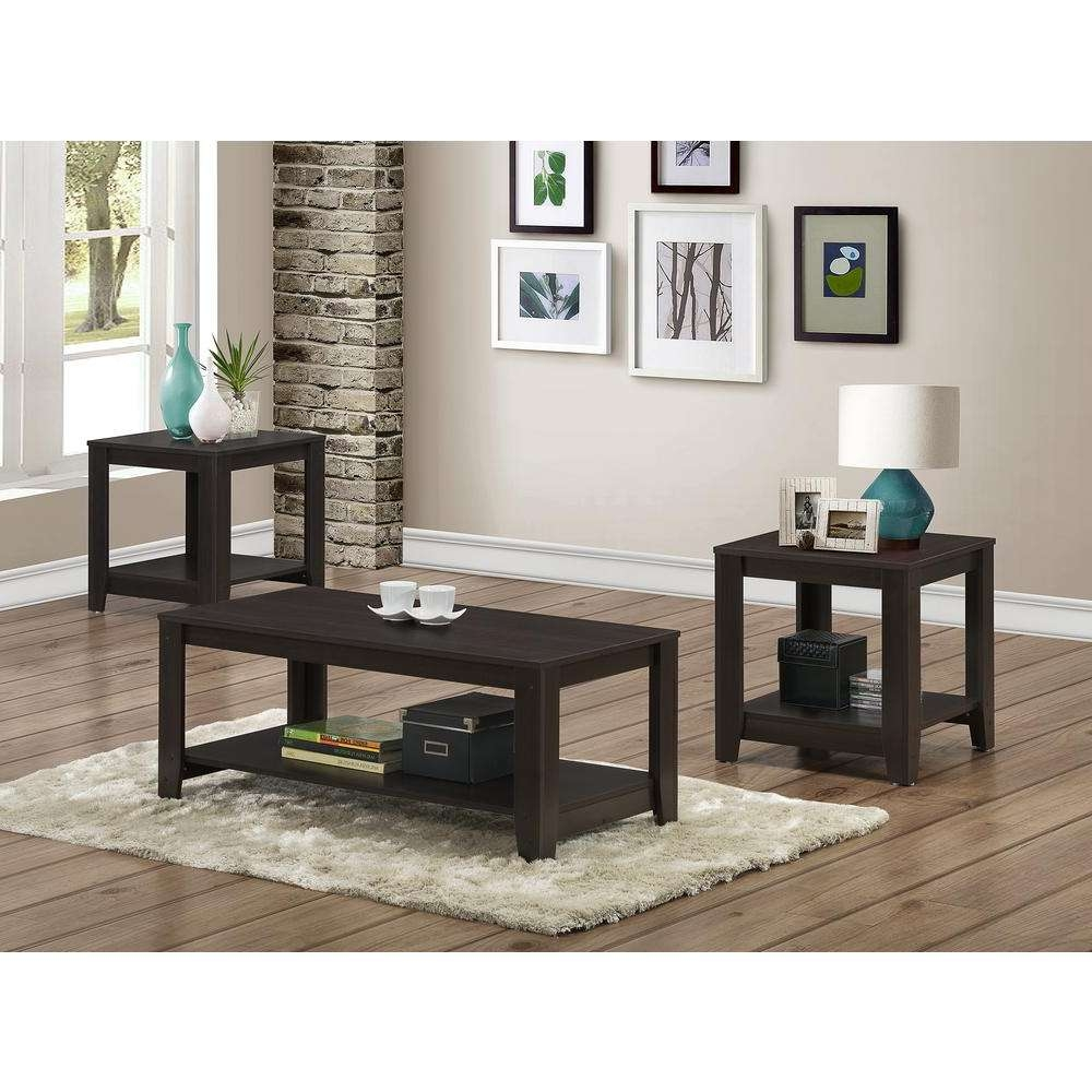 Monarch Specialties Cappuccino 3 Piece Nesting End/side Table Set In Famous Coffee Tables And Side Table Sets (View 12 of 20)