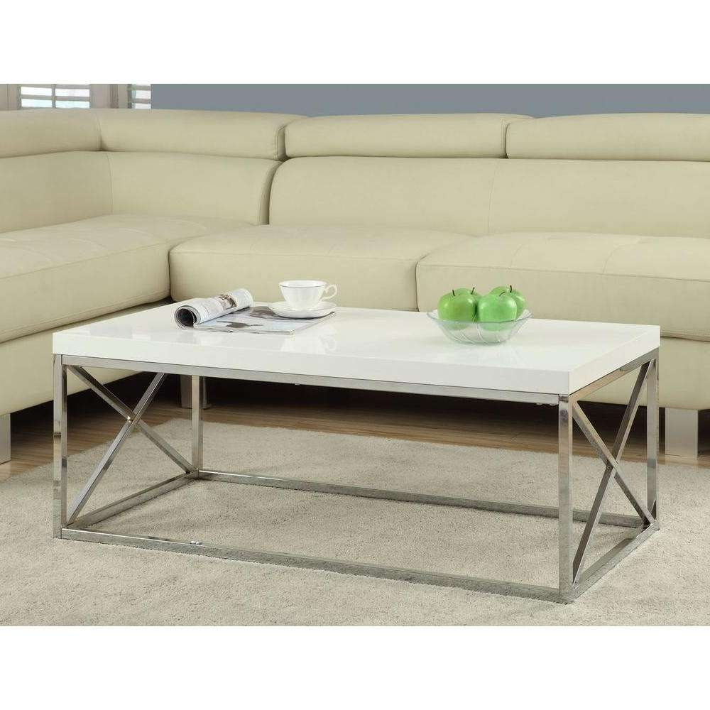 Monarch Specialties Gloss White And Chrome Coffee Table I 3028 With Regard To Most Popular White And Chrome Coffee Tables (View 10 of 20)