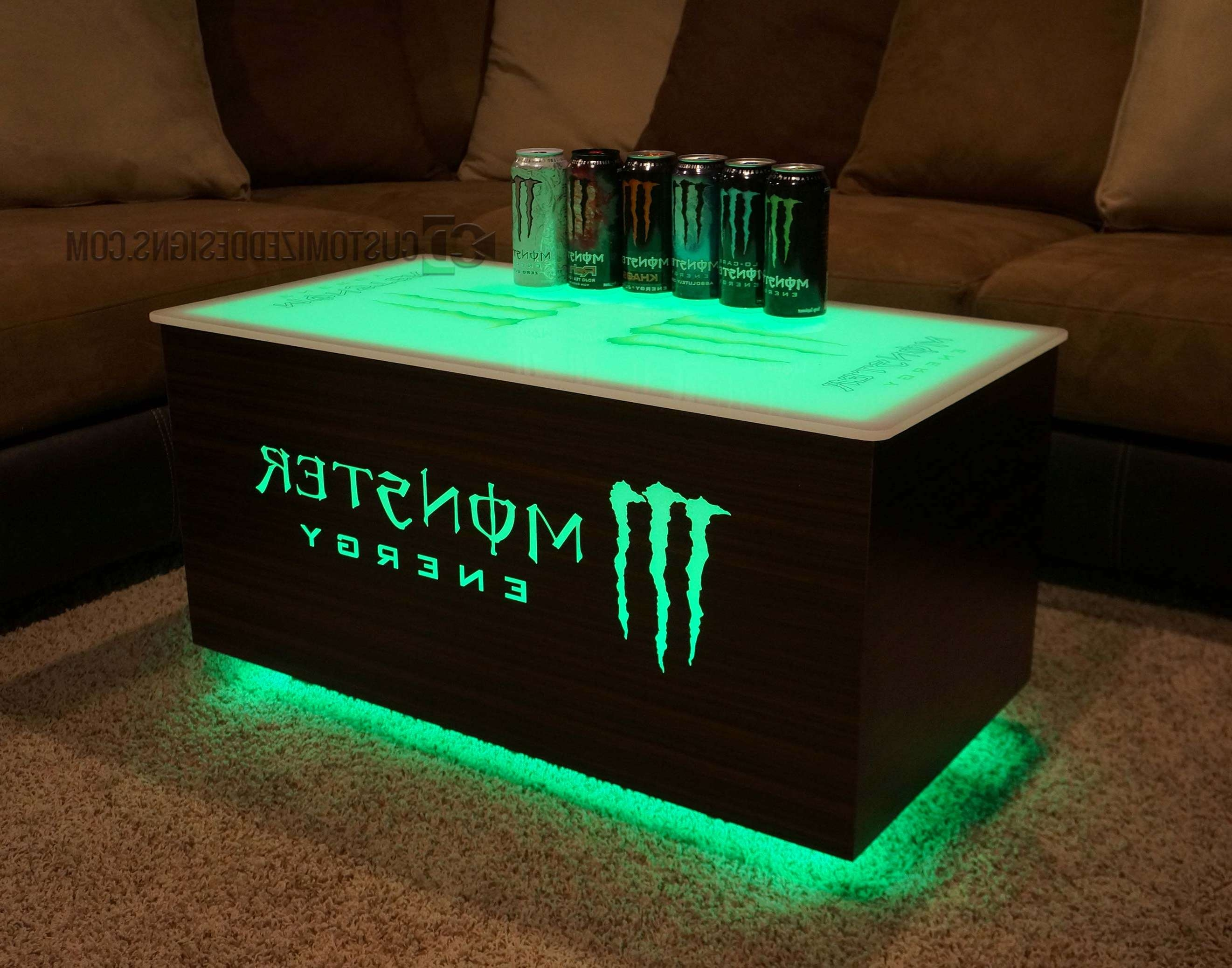 Monster Energy & Absolut Vodka Led Coffee Table Regarding 2017 Led Coffee Tables (View 10 of 20)