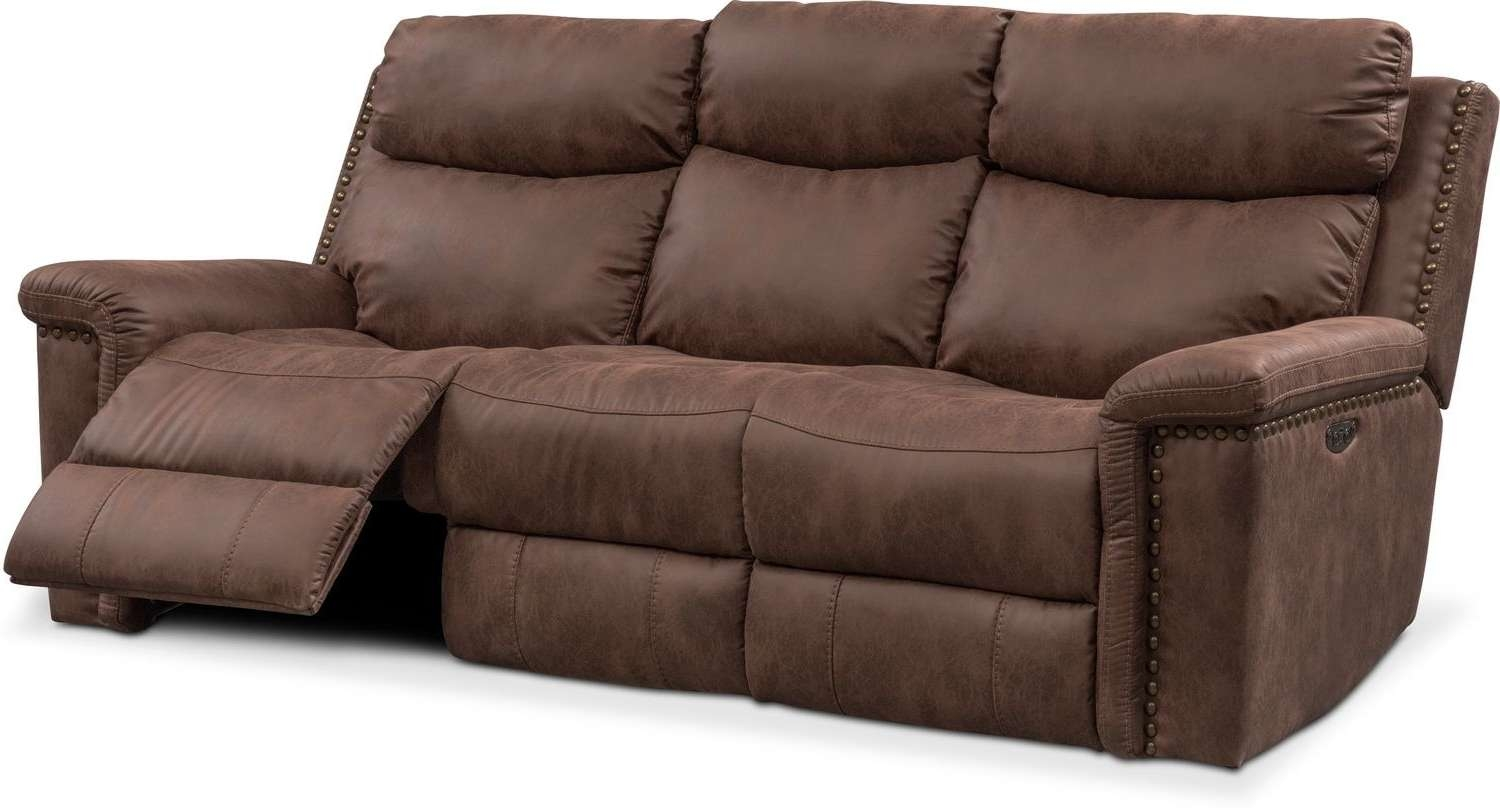 Montana Dual Power Reclining Sofa – Brown | Value City Furniture With Montana Sideboards (View 15 of 20)