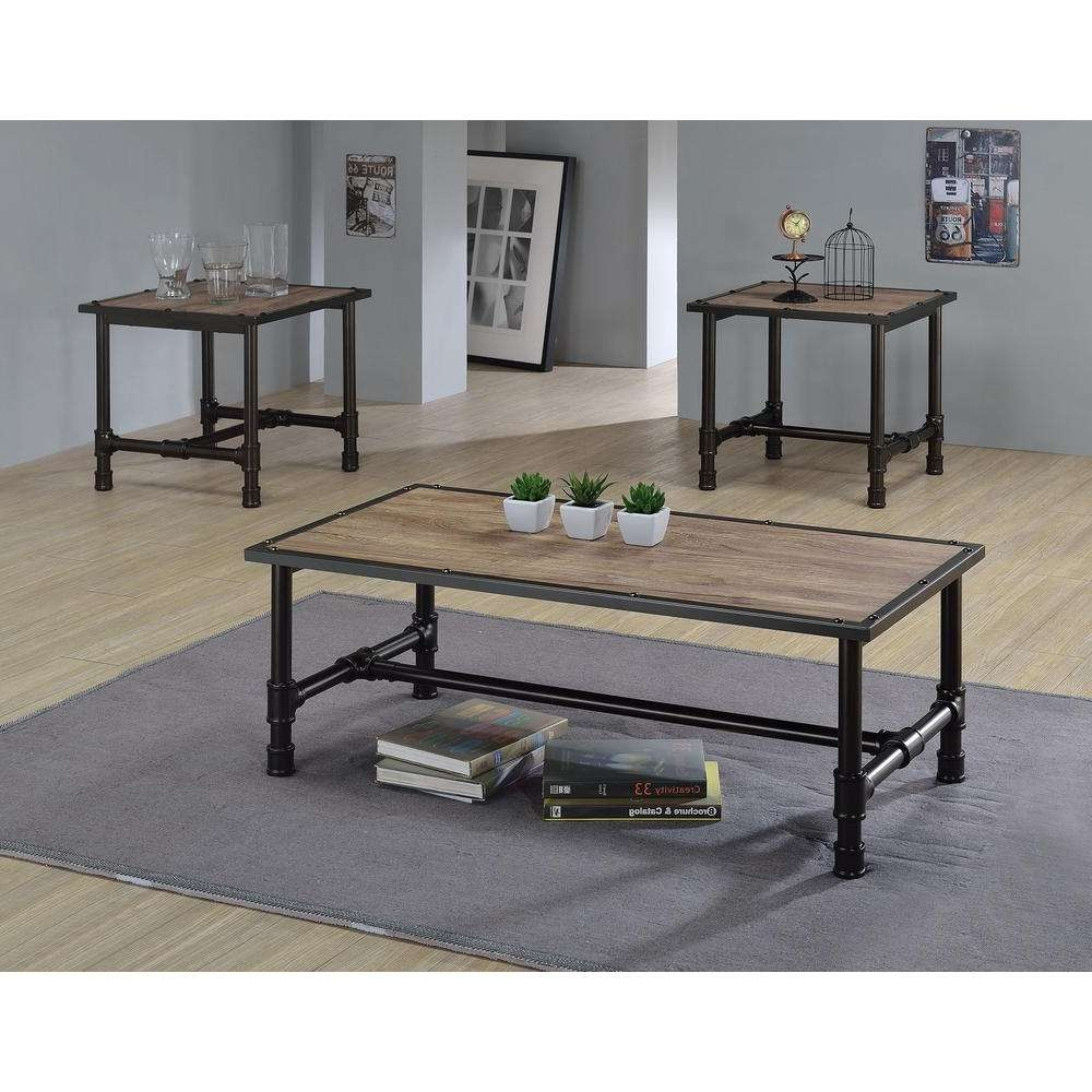 Most Current Black Coffee Tables With Storage Pertaining To Acme Furniture Caitlin Rustic Oak Built In Storage Coffee Table (View 17 of 20)