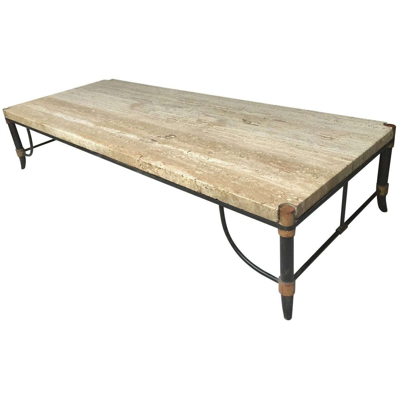Most Current Bronze Coffee Tables Within Italian Travertine, Bronze And Enamel Coffee Table For Sale At 1stdibs (View 8 of 20)