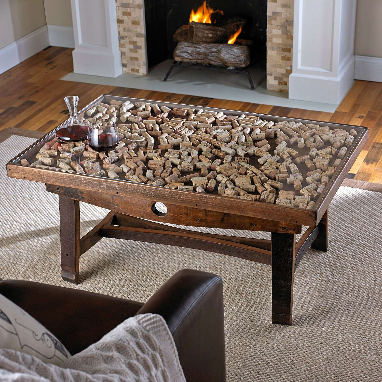 Most Current Coffee Tables With Glass Top Display Drawer In Display Top Coffee Table With Barrel Stave Legs Wine Glass Case (View 17 of 20)