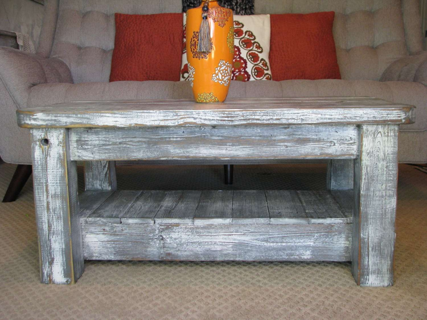 "Most Current Coffee Tables With Rounded Corners With Regard To Rustic Coffee Table With Shelf In ""weathered Grey"" **choose From (View 12 of 20)"