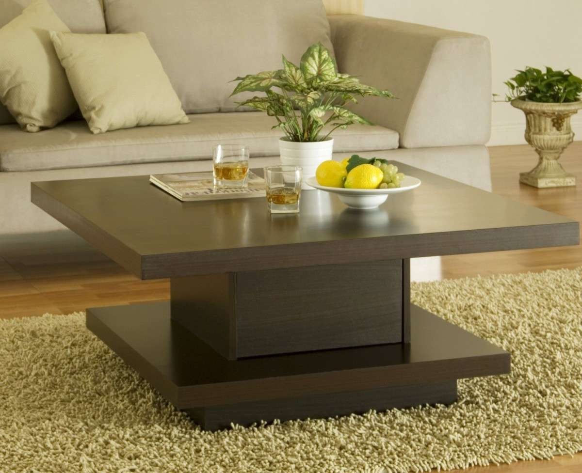 Most Current Dark Brown Coffee Tables Pertaining To Creative Idea : Contemporary Living Room With Square Dark Brown (View 15 of 20)