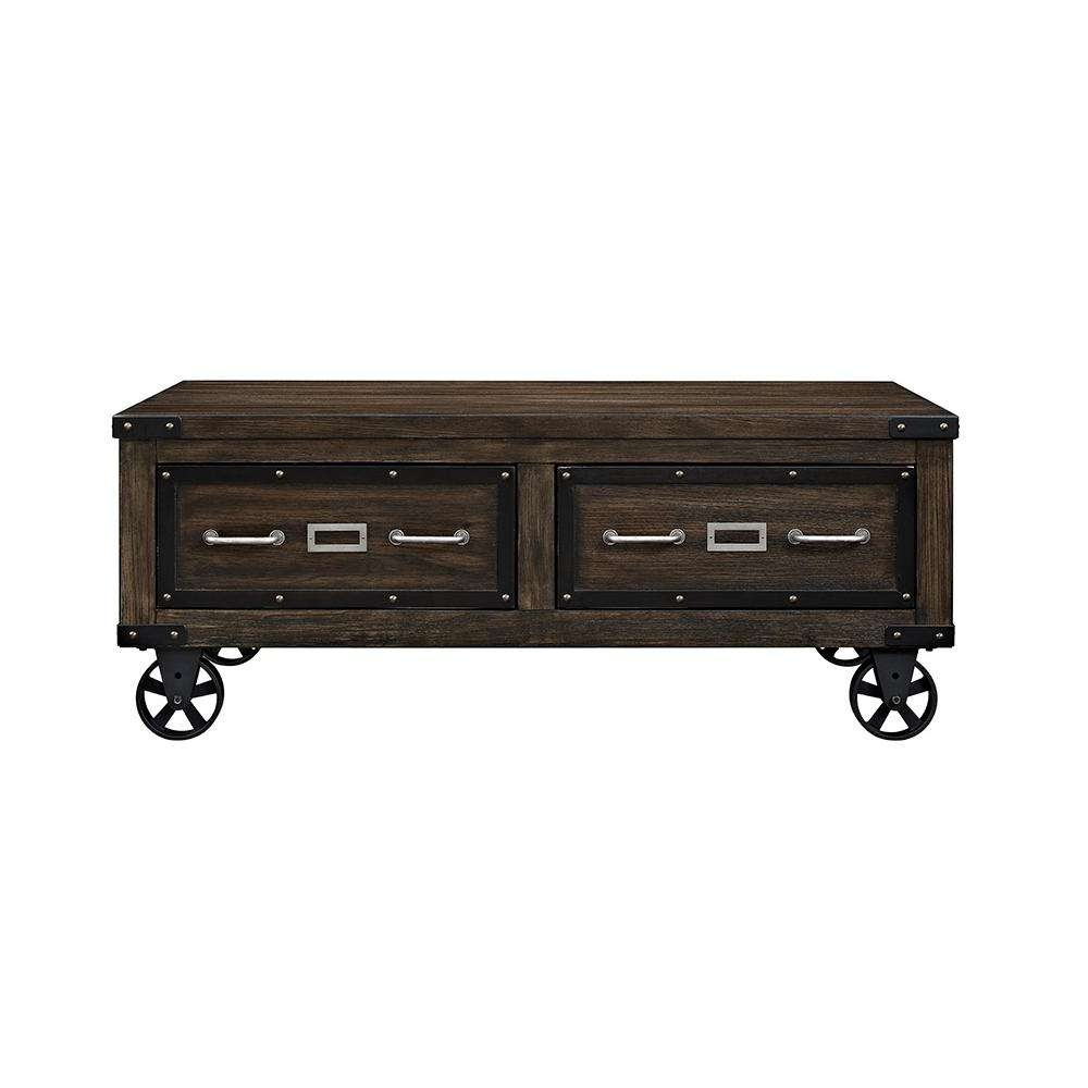 Most Current Dark Oak Coffee Tables Intended For Acme Furniture Kailas Dark Oak Built In Storage Coffee Table  (View 14 of 20)