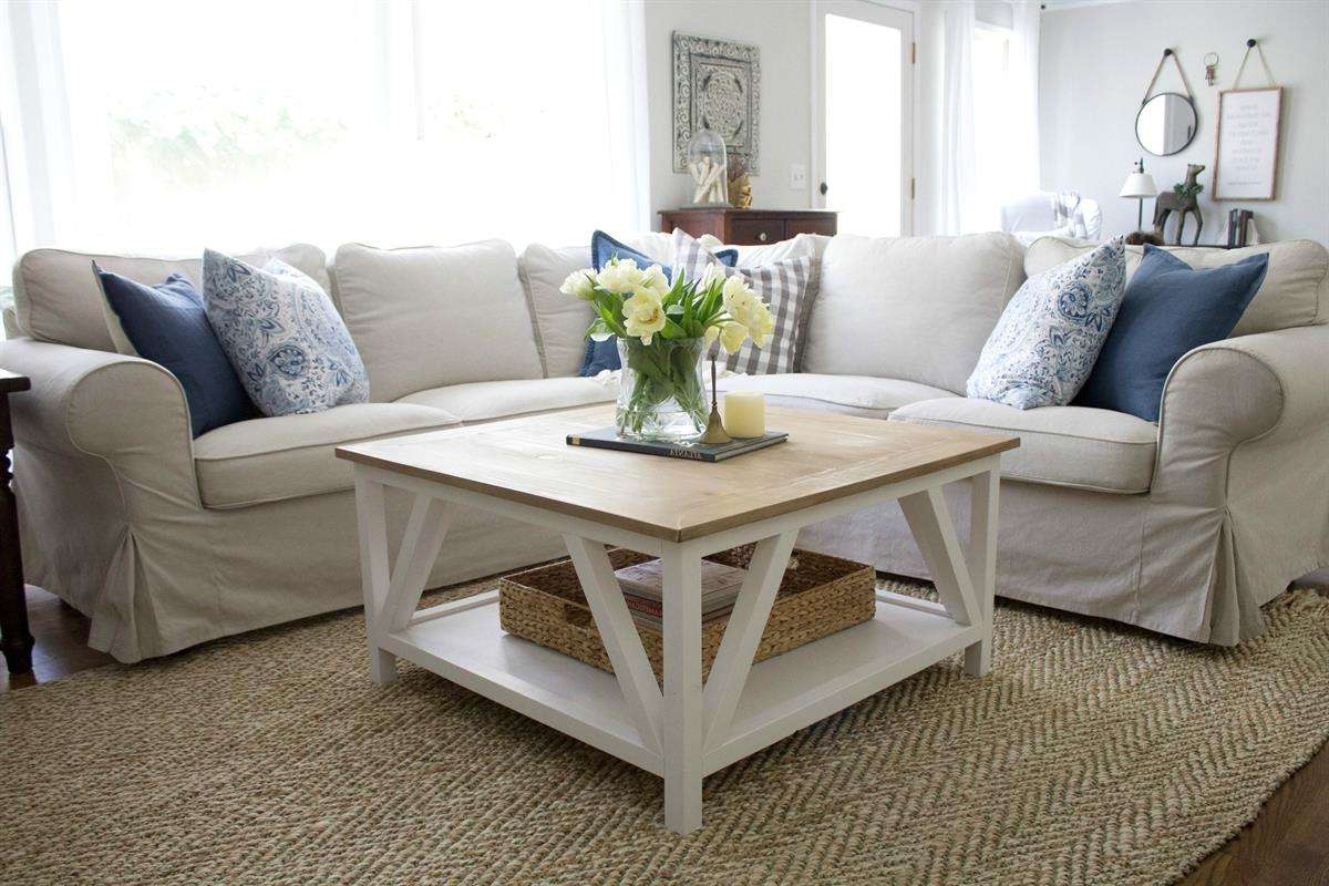 Most Current Farmhouse Coffee Tables For Modern Farmhouse Square Coffee Table – Buildsomething (View 11 of 20)