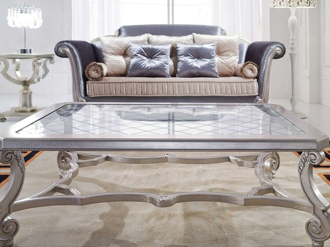 Most Current Glass And Silver Coffee Tables Inside Coffee Tables : Silver Coffee Table Set Glass Top And End Tables (View 8 of 20)