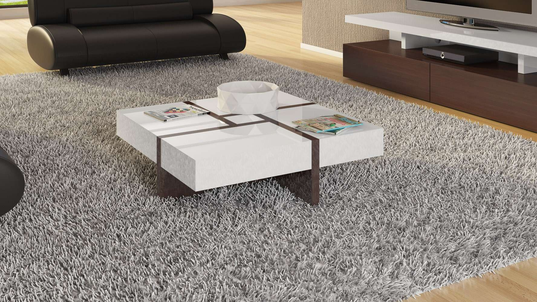 Most Current High Gloss Coffee Tables Pertaining To Mcintosh High Gloss Coffee Table With Storage – White Square (View 9 of 20)