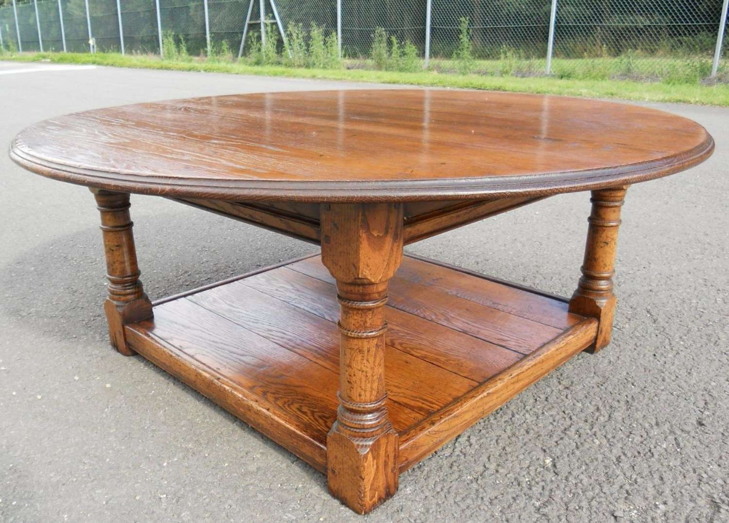 Most Current Large Low Oak Coffee Tables Throughout Large Round Oak Coffee Table – Sold (View 14 of 20)