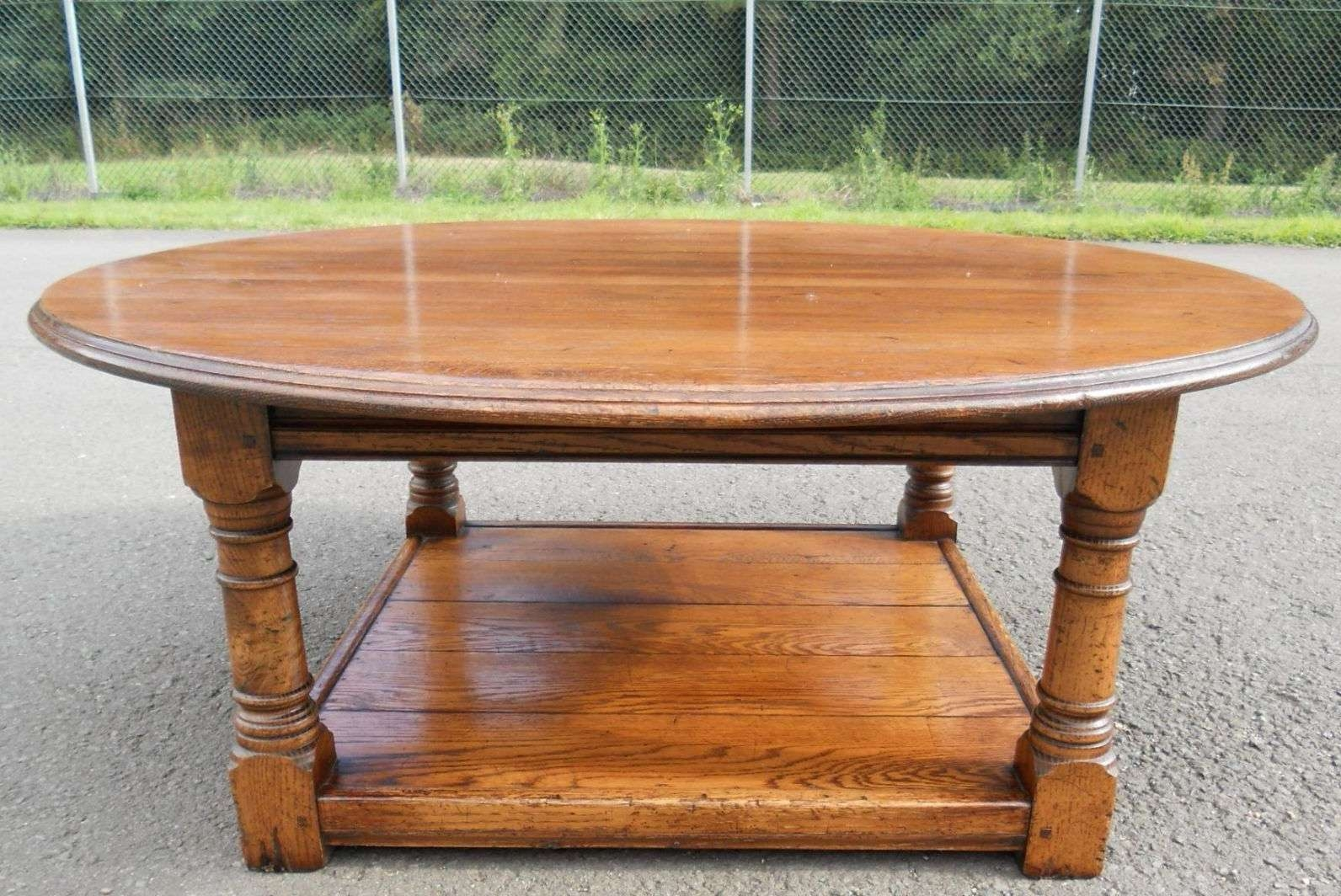 Most Current Large Oak Coffee Tables Throughout Round Oak Coffee Table – Sold (View 12 of 20)