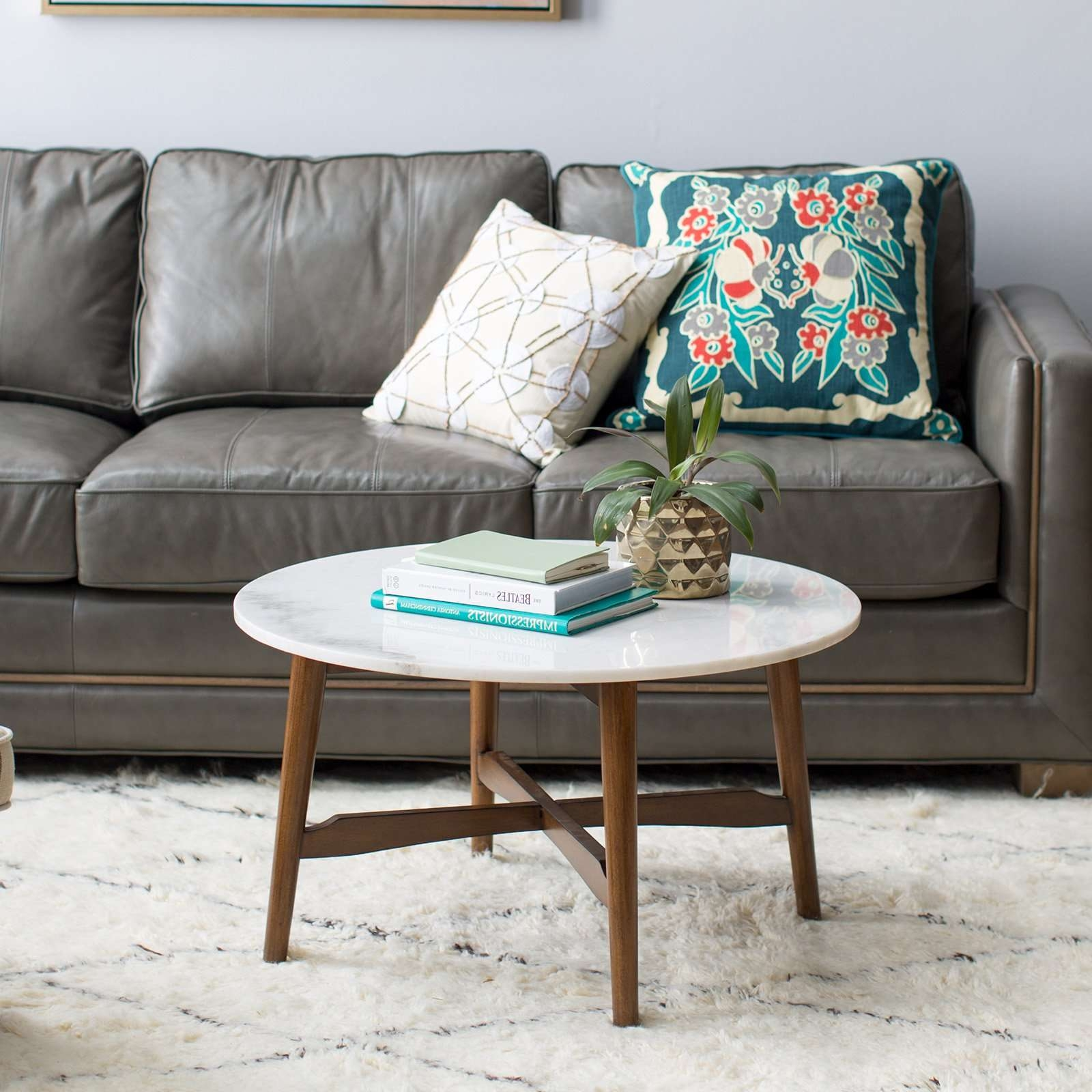 Most Current Marble Coffee Tables Intended For Belham Living James Round Mid Century Modern Marble Coffee Table (View 11 of 20)