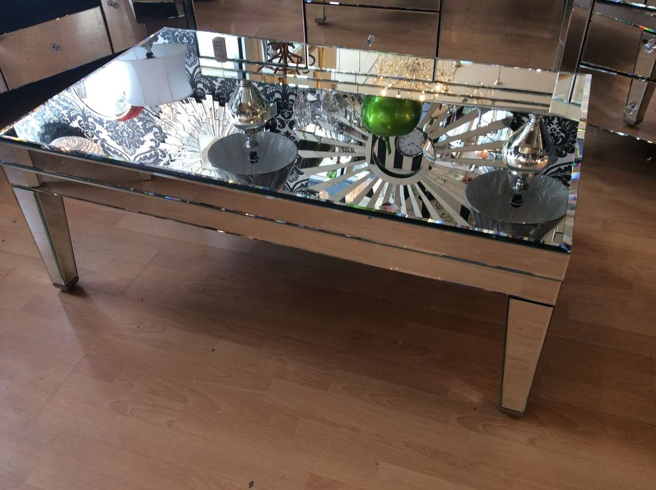 Most Current Mirror Glass Coffee Table Pertaining To Mirrored Coffee Table With Round Mirrored Coffee Table With (View 11 of 20)