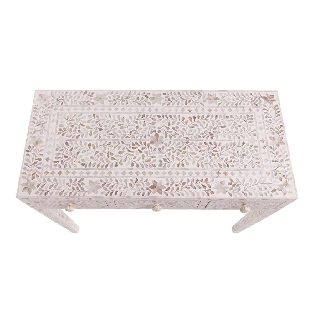 Most Current Mother Of Pearl Coffee Tables Pertaining To Classic Mother Of Pearl Dressing Table In Pearly White (View 15 of 20)