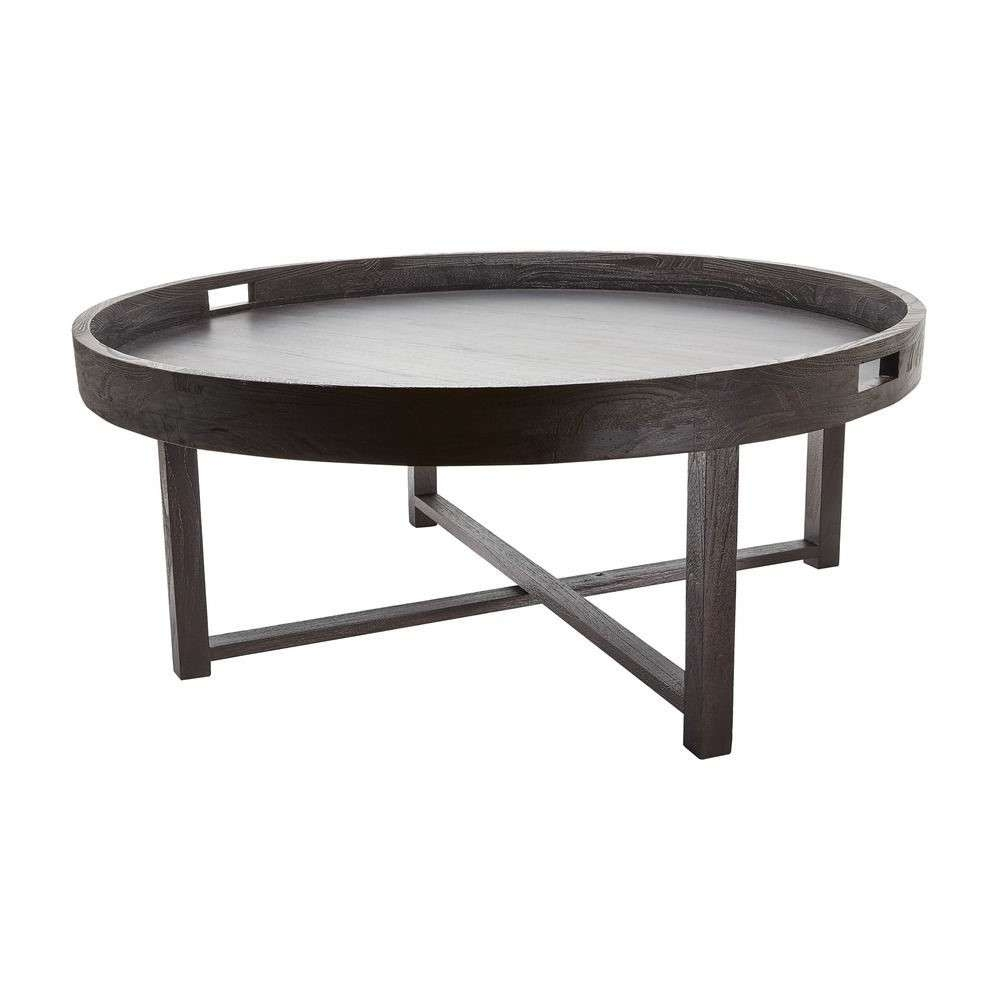 Most Current Round Tray Coffee Tables Pertaining To Black Round Modern Wood Tray Coffee Table Design Ideas To Complete (View 13 of 20)