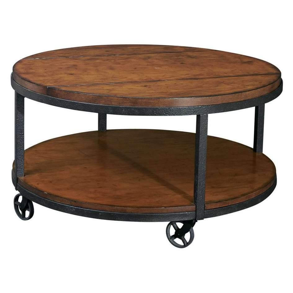 Most Current Rustic Coffee Tables With Bottom Shelf Within Enchanting Round Brown Oak Wood Iron Industrial Coffee Table (View 8 of 20)