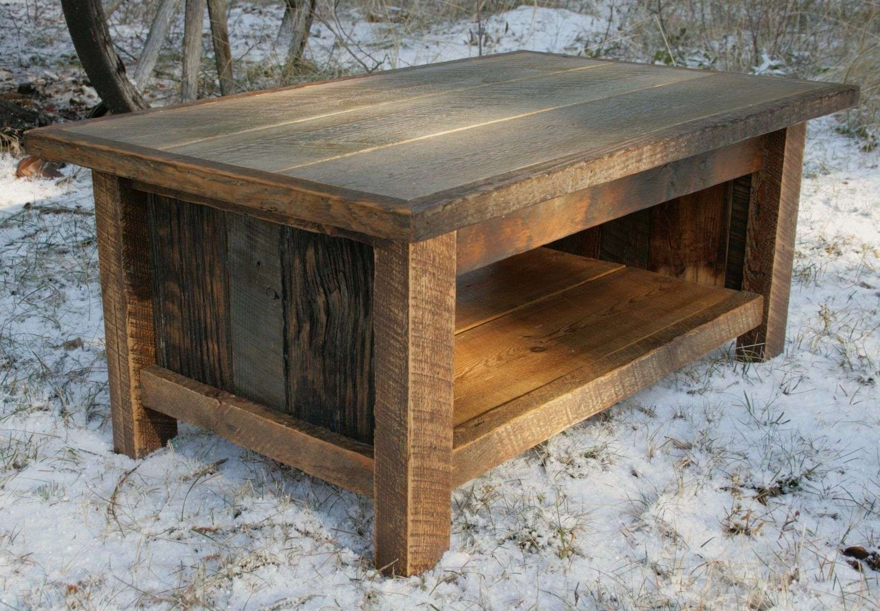 Most Current Small Wood Coffee Tables Intended For Decorations : Awesome Barn Reclaimed Wood Coffee Table With Single (View 12 of 20)