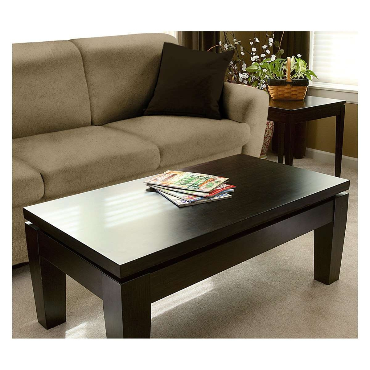 Most Current Wood Modern Coffee Tables Inside Dark Brown Wooden Modern Coffee Table Fit In The Classic Living (View 12 of 20)