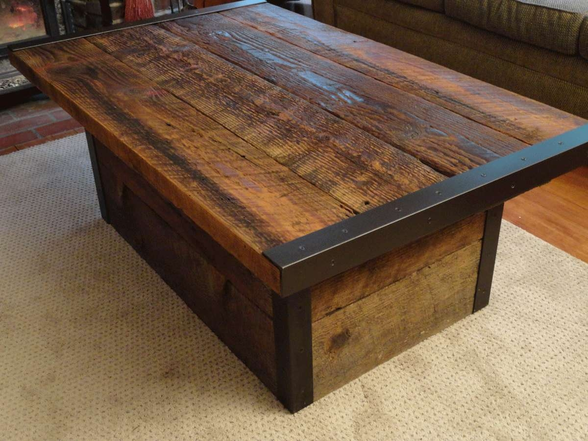 Most Current Wooden Trunks Coffee Tables Regarding Industrial Coffee Table With Usable Trunk / Chest Base (View 10 of 20)