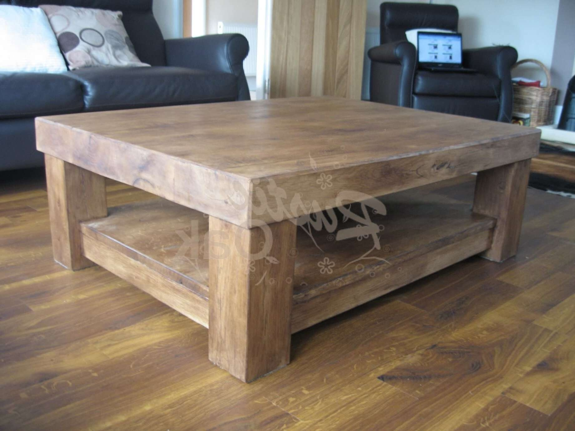 Wonderful Chunky Wood Coffee Table Part - 2: Most Popular Chunky Wood Coffee Tables Inside Chunky 4 Leg Coffee Table  With Shelf U2013 Rustic