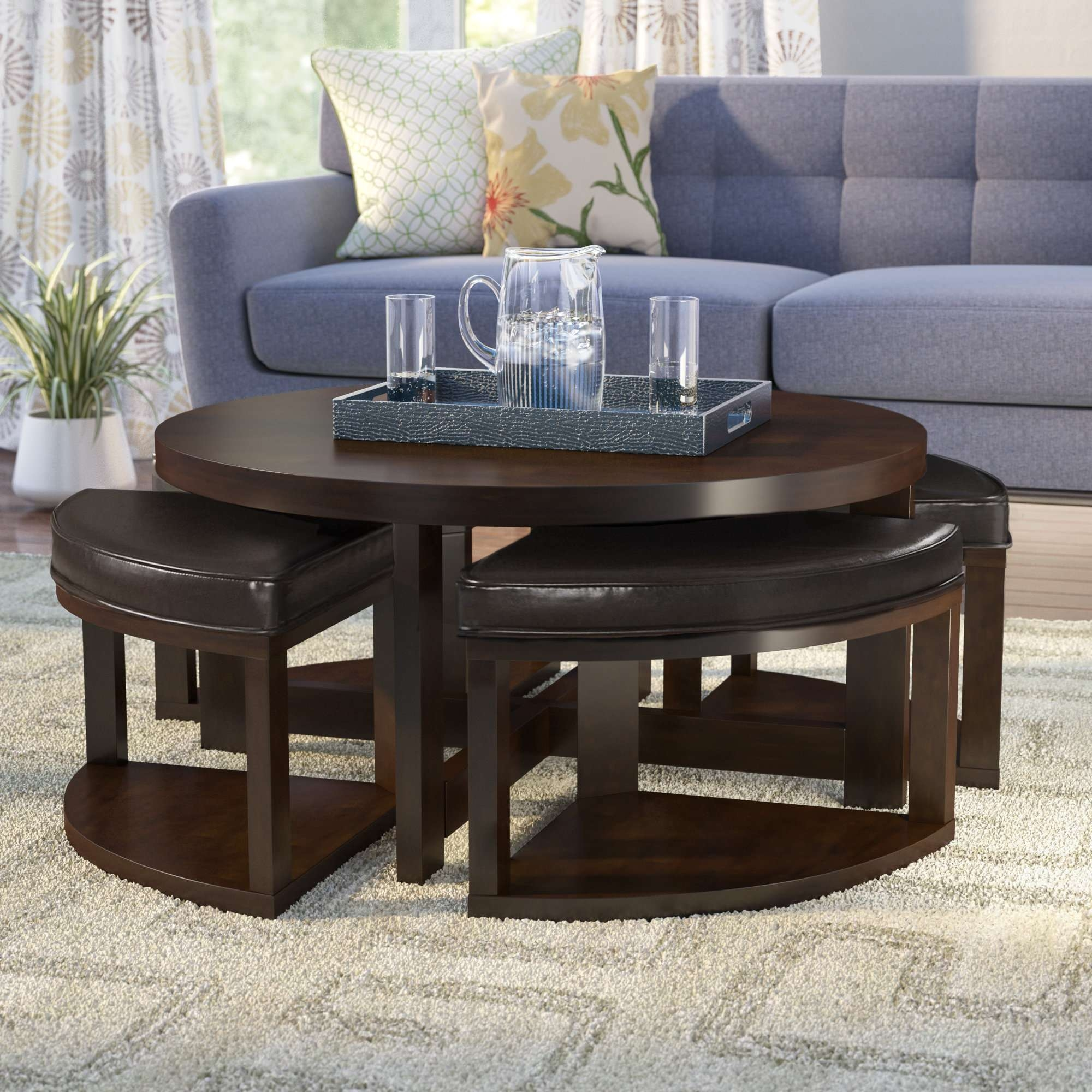 Most Popular Coffee Tables With Nesting Stools Throughout Latitude Run Swineford Coffee Table With 4 Nested Stool & Reviews (View 12 of 20)