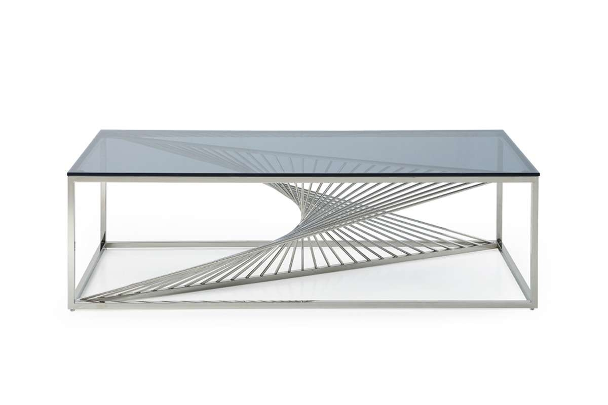 Most Popular Glass Steel Coffee Tables In Trinity Modern Glass & Stainless Steel Coffee Table (View 11 of 20)