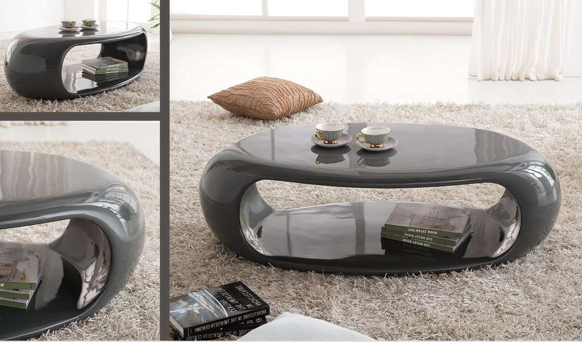 Most Popular High Gloss Coffee Tables Regarding Straas Curved High Gloss Coffee Table In Dark Grey  (View 12 of 20)