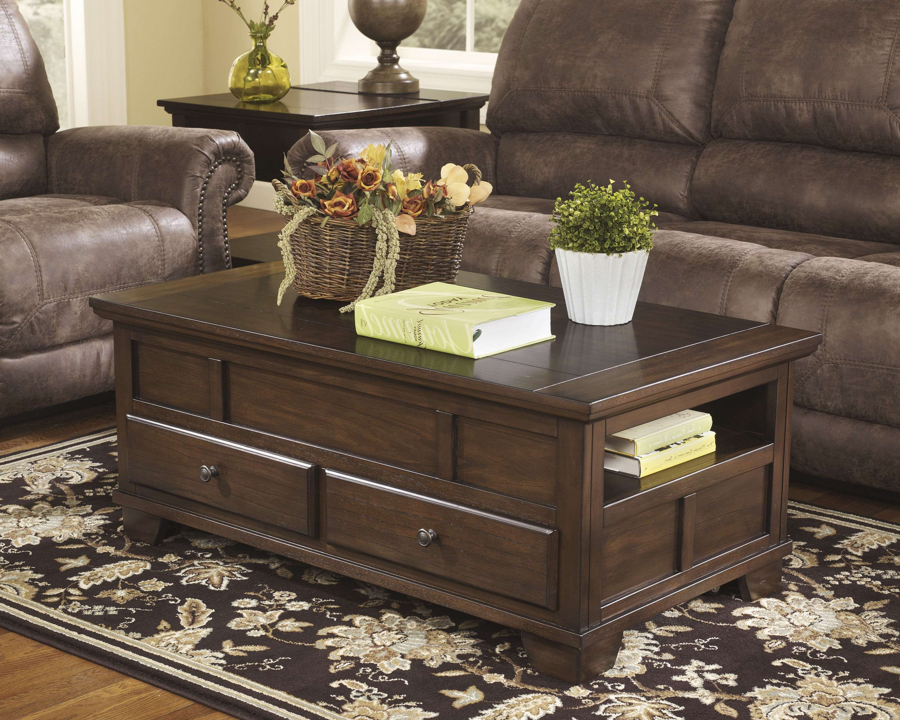 Most Popular Lift Top Coffee Table Furniture Regarding Ashley Furniture Gately Brown Lift Top Cocktail Table (View 7 of 20)