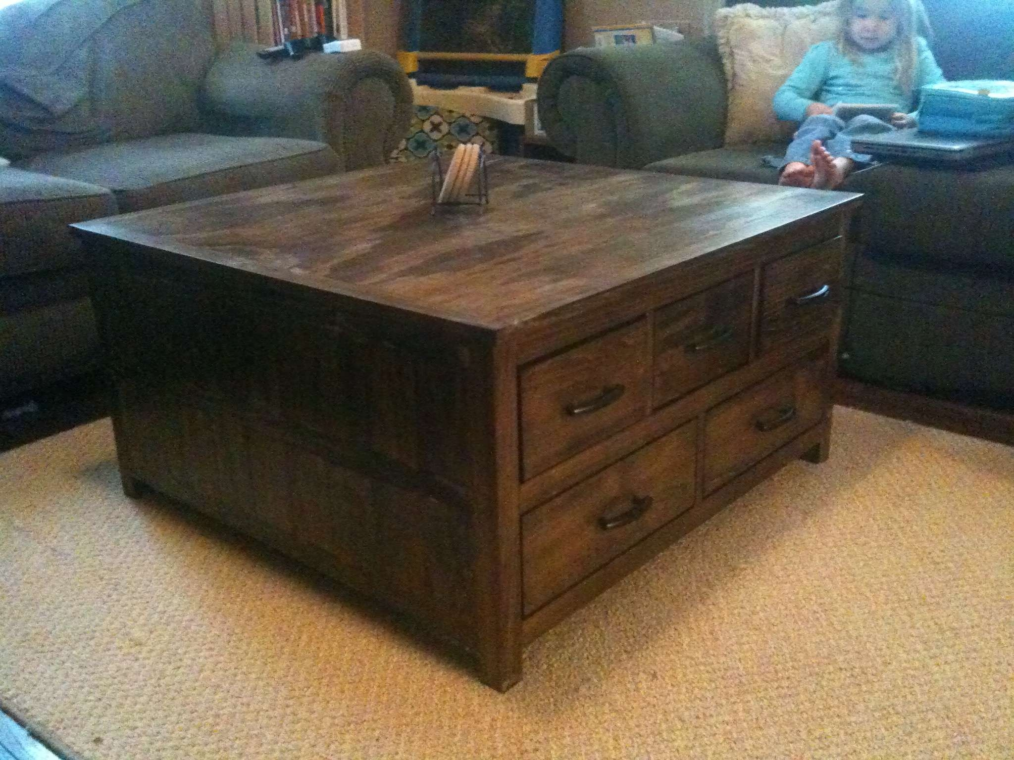 Most Popular Low Square Coffee Tables Throughout Coffee Tables : Wood And Metal Coffee Table Rustic Round (View 13 of 20)