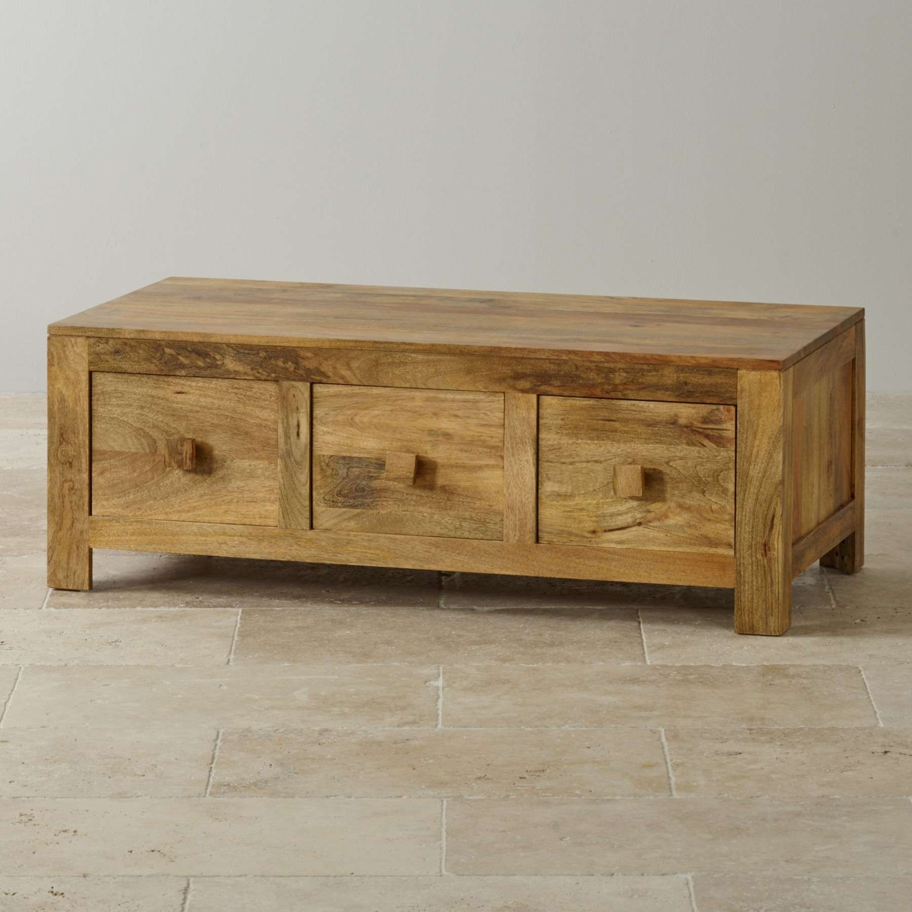 Most Popular Mango Coffee Tables With Regard To Mantis Light Natural Solid Mango 6 Drawer Storage Coffee Table Oak (View 13 of 20)