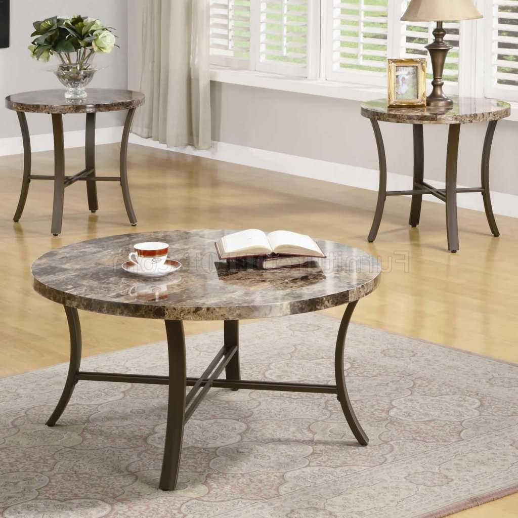 Most Popular Marble And Metal Coffee Tables Throughout Marble Like Round Top & Metal Base Modern 3Pc Coffee Table Set (View 10 of 20)