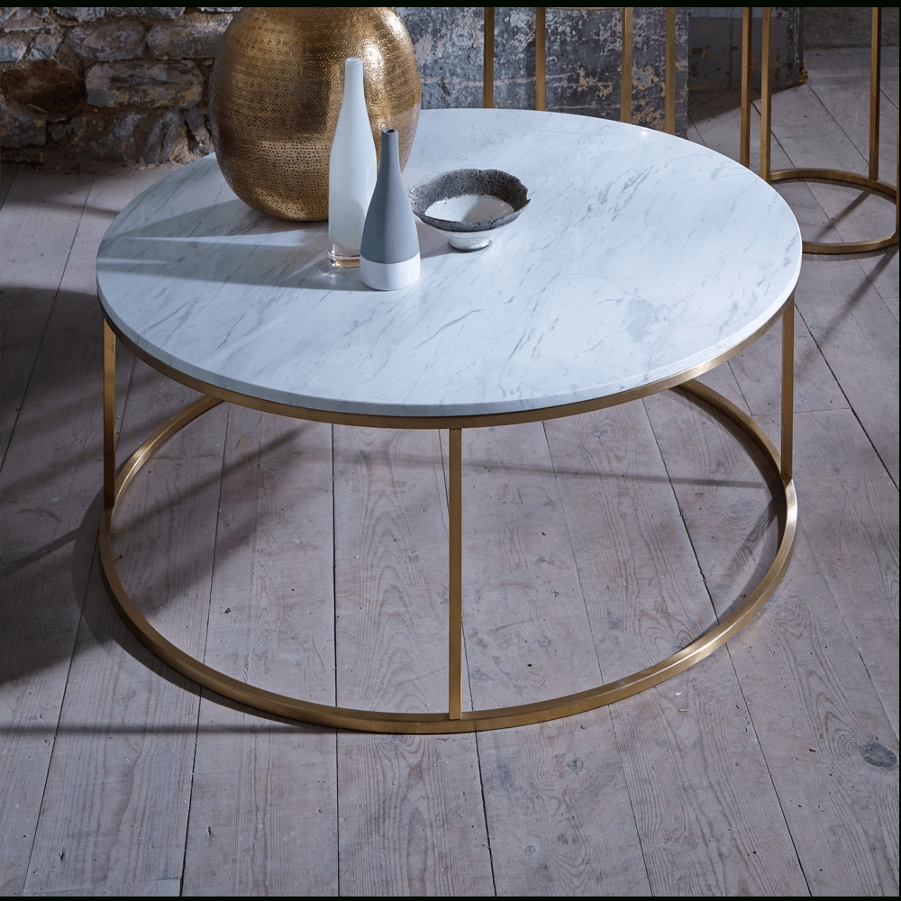 Most Popular Marble Round Coffee Tables With Regard To Slimline Retro Circular Coffee Tables – Marble, Walnut And Glass (View 13 of 20)